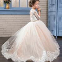 Wholesale Arabic Floral Lace Flower Girl Dresses Ball Gowns Child Pageant Dresses Long Train Beautiful Little Kids FlowerGirl Dress Formal Wear