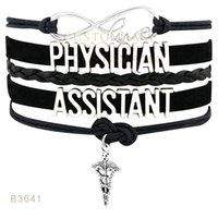 10 PCS / Lot) Infinity Love Assistant Médecin Adjoint Assistant Secrétaire Charm Wrap Bracelets Suede Cuir personnalisé Tous les thèmes Drop Shopping