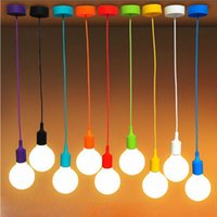 Wholesale Colorful Silicone Pendant Lights E27 Holder AC90 V Modern Fashion DIY Design Creative Pendant Lamps cm Cord Ceiling Base