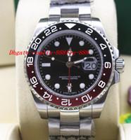 Precio de Cerámica blanca reloj de pulsera-Relojes de lujo de alta calidad GMT II 116719 BLRO Rojo Negro Cerámica bisel 18K oro blanco NUEVO Automático Reloj Hombre Relojes de pulsera