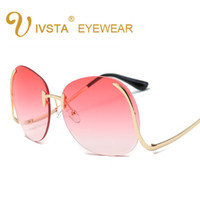 amber sea - VSTA Hipster Sunglasses Women Big Oversized Glasses Color Sea Lense Frameless Sun Glasses Fashion Party Hot Summer Style