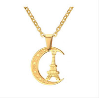 Wholesale Gold Plated Crescent Tower Pendant Necklace For Women Casual Moon Style Party Stainless Steel Jewelry PN