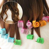 Precio de Inicio peinado del cabello-Los rizadores de pelo mágicos El pelo Rollers Rolling del caracol que labra las herramientas del bigudí Fácil en el camino natural de Diy de la manera (18pcs / set)