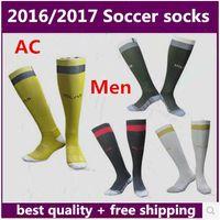 Soccer Men Polyester NEW 2016 2017 AC Milan home black sport socks men's Knee High cotton soccer stocking thai quality Thicken Towel Bottom long hose sportswear