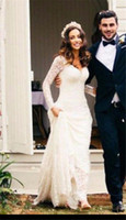 Wholesale Vintage Full Lace Long Sleeve Backless Wedding Dresses Court Train Plus Size Country Style Bridal Gowns Custom Made