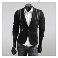 Hommes Slim Fit Costumes Mode Européenne et américaine Punk Vent Zipper Design Hommes Costumes occasionnels Manteaux US Taille: XS-L