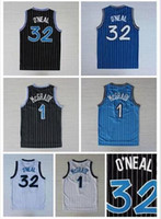 Wholesale Mens Retro Shaquille O Neal Shaq Jersey Throwback Stitched Tracy McGrady Penny Hardaway Jersey Black White Blue Stitched Shirts