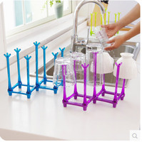 Wholesale Many Drain Cup Holder Multi Function Plastic Cups Holders Water Glass Storage Rack Reverse Racking Creative Stretch rr
