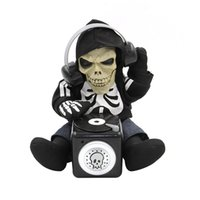 battery animated - Battery Operated Sound Activated TalkBack Animated DJ Skeleton CM Tall Spooky Halloween Table Decoration Fun Novelty Toys