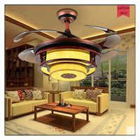 Wholesale Vintage Chinese style Round Shaped LED Living room Dining room Ceiling Fan Lights with Retractable Blade