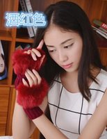 Wholesale x Women Faux Rabbit Fur Hand Wrist Winter Warmer Knitted Fingerless Gloves Color