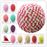 Wholesale Wedding Rose balls Inch CM Silk Flower Kissing Balls Hanging rose Balls Wedding Party Decorations YF001