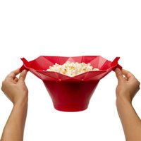 Wholesale 25hq The New Practical Silicone Popcorn Popper Red Flower Shape Corn Poppers For Microwave Kitchen Cooking Tools Convenient High Quality