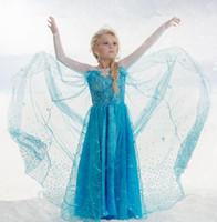 Wholesale 2017 elsa dress girl fever dress diamond snowflake flower print girls dress elsa sleeveless in stock