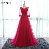Wholesale Elegant Wine Red Pink Gray Colored Evening Dress With Sleeves Appliqued Tulle Prom Dress Long Formal Gowns abendkleider Party Dress S01