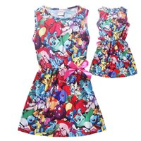Wholesale 120 cmNew Children poke moon go skirts kids mon go cartoon comic cartoon Pikachu Dress Girl Summer Beach Dress Kids Clothing baby clothes