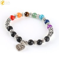Wholesale CSJA Chakra Rainbow Bracelet Love Heart Pendant Boho Female Antique Silver Plated Jewelry Purple Crystal Jade Red Agate E281