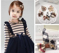 bb fabrics - European and American style children s hair accessories Students English grid BB clip hairpin clip headdress two styles