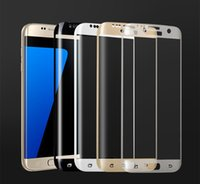 Wholesale Colored Full Cover D Curved Tempered Glass Film For Samsung Galaxy S7 edge S6 Edge plus Screen Protector Explosion proof membrane with box