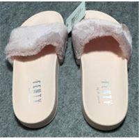 Wholesale RIHANNA FUR LEADCAT FENTY SLIDES SLIPPERS WOMEN Men House Winter Slipper Home Shoes Woman Warm Slippers chaussons hiver femme Bag