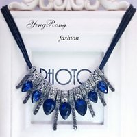 Wholesale Fashion Jewelry Gems Drops Chain Necklace Statement Necklace For Female Sweater Accessories Blue Crystal Cheap NICE