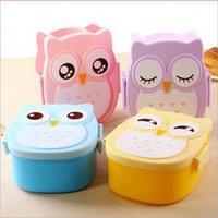 al por mayor s horno-Kawaii Candy Color Búho Lunch Box Horno de microondas Bento Contenedor de la vajilla de la caja Regalo de cumpleaños de los niños