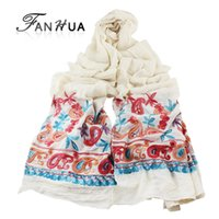 artistic scarves - Bohemia Ethnic Style Embroidered Scarves and Shawls for Women Fashion Design Artistic Style Solid with Colorful Floral Scarves