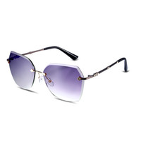 Wholesale New fashion rimless procelain favourable superior frameless sunglasses Purple lens nice gift for lovers party beach wear