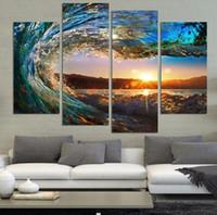 4 Группа Современная Морской пейзаж Картина на холсте HDSea Волна Пейзаж Стена Изображение для Bed Room Unframed No Frame Gift масло Изображение напечатанное о