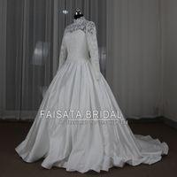 Wholesale Vestido De Noiva Foto Real Gorgeous Long Sleeve High Neck Muslim Wedding Dress White Ball Gown Princess Wedding Dresses