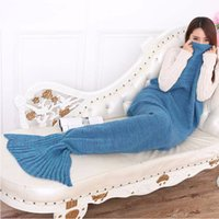 Wholesale Colors Yarn Knitted Mermaid Tail Blanket Super Soft Sleeping Bed Handmade Crochet AntiPilling Portable Mermaid Blankets