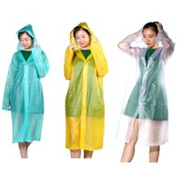 Wholesale EVA Transparent Raincoat Adult Emergency Waterproof Hood Poncho Travel Camping Raincoat Unisex