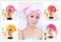 Wholesale hot Women Ladies Lightweight Shower Cap Fast Quick Dry Magic Cap Hair Towel Super Absorbent Towels Cap Bath Wrap Twist Hat Tools