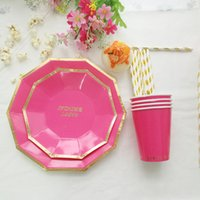 bamboo disposable plate - New arrival colorful birthday party decoration disposable tableware set printing round gold foil plates party supplies CP072