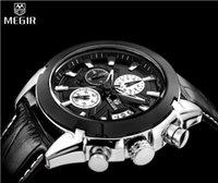 Wholesale MEGIR Chronograph Casual Watch Men Luxury Brand Quartz Military Sport Watch Genuine Leather Men s Wristwatch relogio masculino