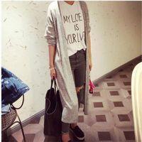 Grossiste-2016 New Sweater Cardigan Femmes occasionnels gris noir Pulls tricotés simples solides loose Plus grande taille manches longues femmes Cardigans longs