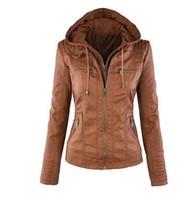 Wholesale Newest Women s Winter Leather Jacket Coat Hoodies Hooded Lapel Zipper Detachable Leather Jacket Female Jaqueta de Couro