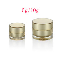 Screw Cap acrylic glass jar cosmetic - 5g g Gold Empty Round Acrylic Cream Jar container Small sample Cosmetic Pot Golden eye cream Cosmetics Packaging tin bottle