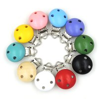 5mm baby clasps - mix pattern baby pacifier clip Infant Soother Clasps natural wood teething charm button WC039