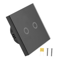 Wholesale 3 Types Smart Home Black Crystal Glass Panel Gang Way EU Plug Light Touch Sense Screen Wall Switch With LED Indicator
