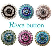 Wholesale Rivca Hot Newest Design Ginger Snap Button Bracelet NOOSA Chunks Leather Bracelets For Women Fit mm Rivca Snap Jewelry D00260