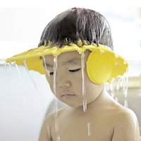 Wholesale 3 Colors Adjustable Chidlren Baby Shampoo Cap Bath Bathing Shower Hat Wash Hair Shield with Ear Accessories Supplies
