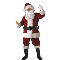 Санта костюмы Цены-Праздник Рождества Христова сгущает Делюкс Плюшевые малиновый Темно-красный костюм Санта-Клауса костюм косплей ткань Равномерное размер L XL