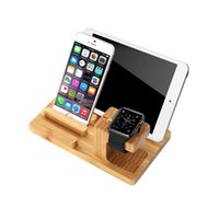 bamboo usb tablet - Creative Watch Phone Tablet Porous USB Charging Bamboo Scaffold Four Hole Wooden Charger Base Cell Phone Mount Holder