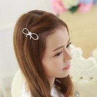 Wholesale Han edition diamond bowknot hairpin clip bang crystal hairpin top clip to tire of girl