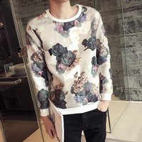 Wholesale 2017 new spring autumn Men s Clothing printing fleece round collar two colors spacewadding pullover cool lie fallow coat long sleeve