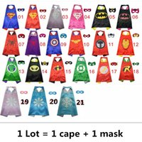 Wholesale 70 CM Superhero Capes and Masks Kids Capes Double Layers Spiderman Cape Christmas Halloween Cosplay For Children Gifts