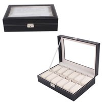 Wholesale 12 Grids PU Leather Watch Display Case Boxes Jewelry Storage Organizer For Bracelet Shop Newest Watch Box