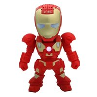 Wholesale 2016 Portable Mini Speaker Iron Man Bluetooth Wireless Speakers with LED Flashing Light Stereo Hifi Sound Box TF USB MP3 Player