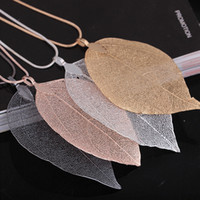 Pendant Necklaces Mexican Women's Unique Women Fashion Jewelry Leaves Leaf Sweater Pendant Long Chain Necklace for mon girlfriend birthday gift